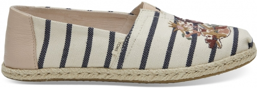 Toms TOMS White/Pink Embroidery Striped Women's Espadrilles Shoes - Size UK9 / US11 Espadrille