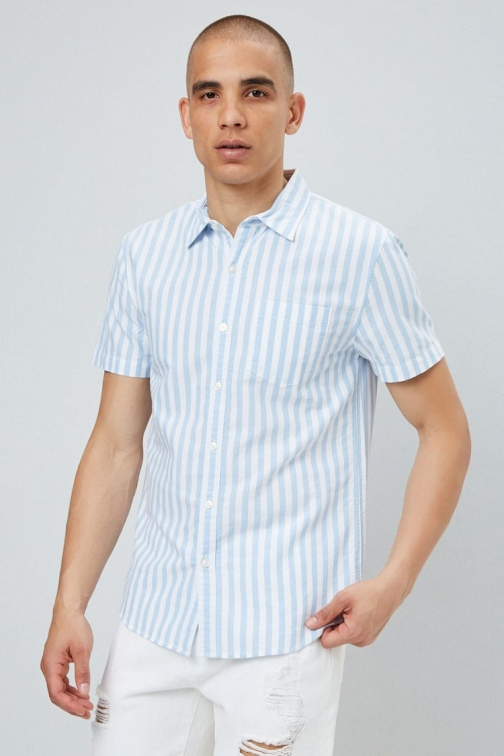 21 Men Pinstriped Fitted Oxford At Forever 21 , White/blue Shirt