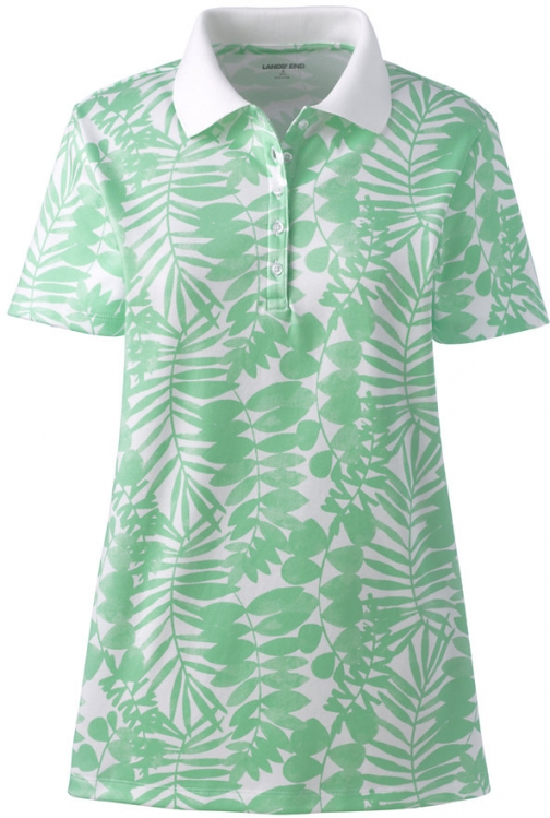 Lands' End Women's Tall Supima Cotton Short Sleeve Shirt - Print - Lands' End - Green - S Polo
