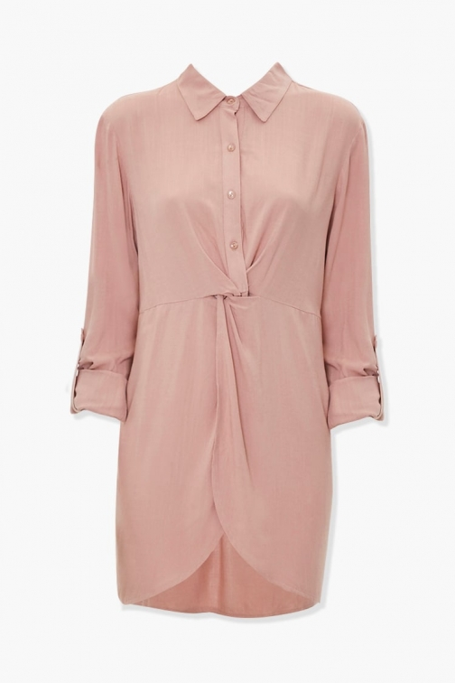 Forever21 Forever 21 Twist-Front , Taupe Shirt Dress