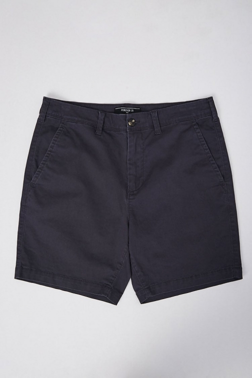 21 Men Woven Chino At Forever 21 , Navy Short
