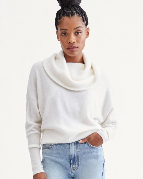 7 For All Mankind Cashmere Funnel Neck Sweater Soft White Sweatshirt