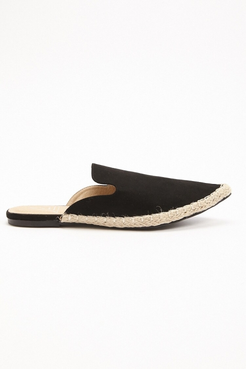 Forever21 Forever 21 St. Sana Faux Leather Mules , Black Espadrille