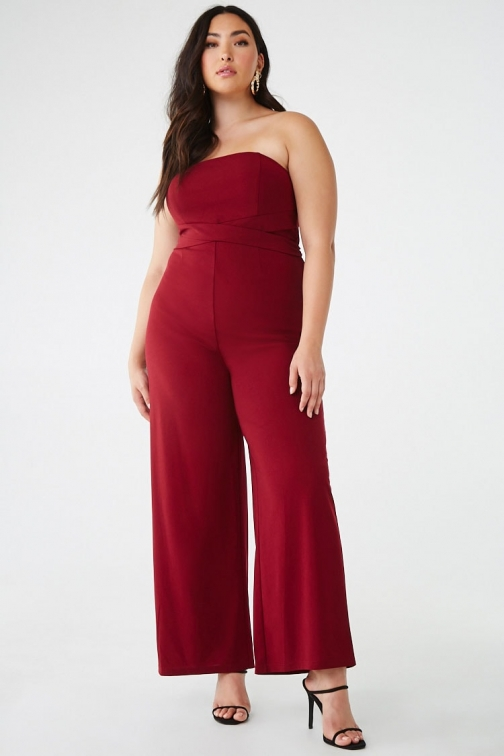 Forever21 Plus Forever 21 Plus Size Strapless , Wine Jumpsuit