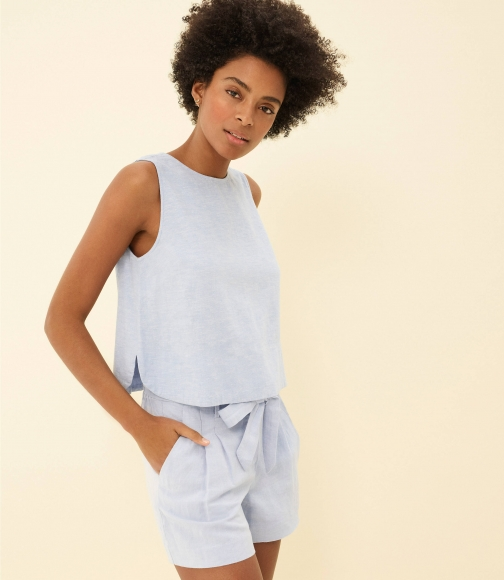 Loft Chambray Bar Back Cropped Shell Shirt