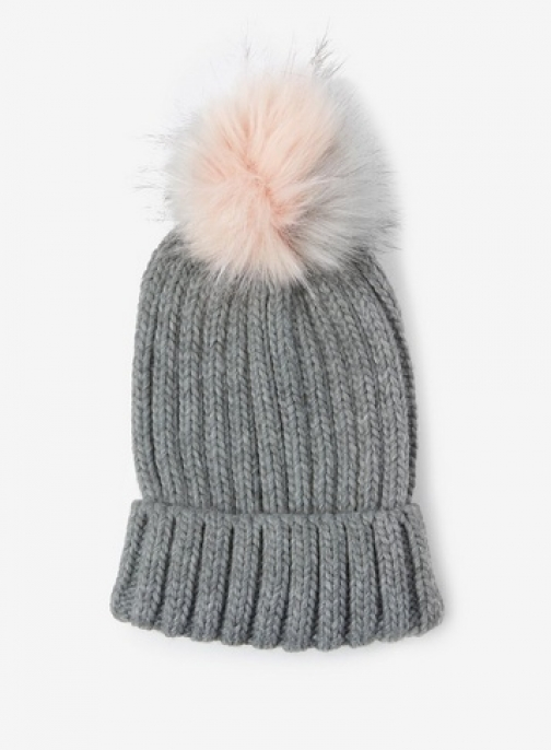 Dorothy Perkins Grey And Pink Pom Pom Hat