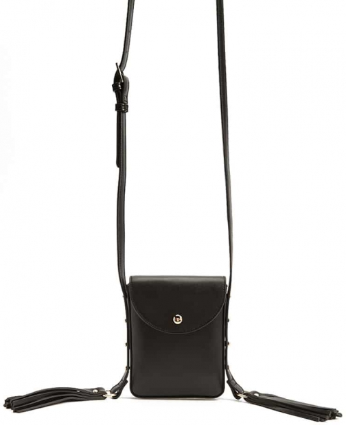 Forever21 Forever 21 Tassled-Strap Faux Leather Crossbody , Black Crossbody Bag
