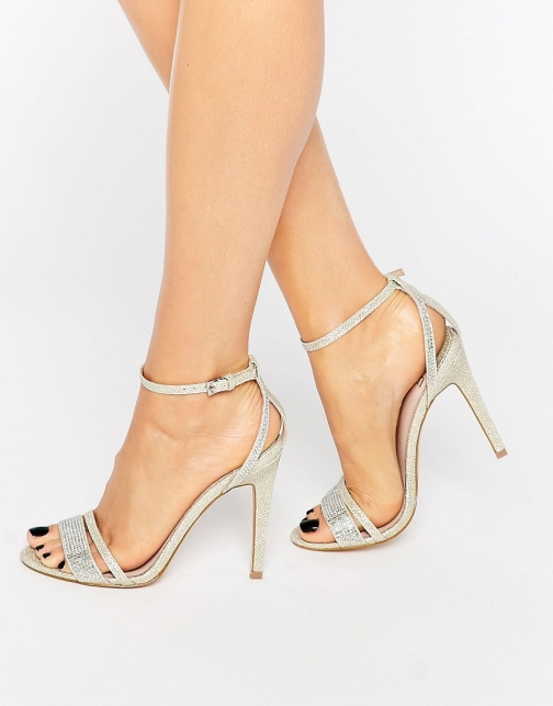 Faith Silver Barely There Heeled Sandal