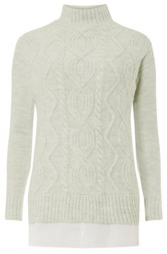 Dorothy Perkins Womens Grey Funnel Neck Cable 2--1 - Grey, Grey Jumper