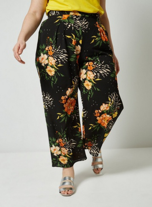 Dorothy Perkins Dp Curve Black Floral Mix Print Palazzo Trousers Trouser