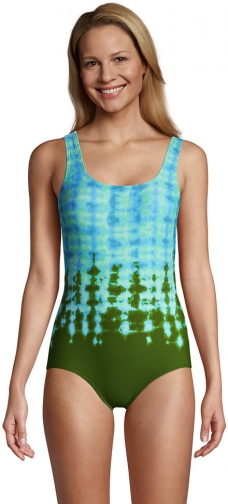 Lands' End Women's Long Chlorine Resistant Scoop Neck Soft Cup Tugless Sporty One Piece Print - Lands' End - Green - 10 Swimsuit