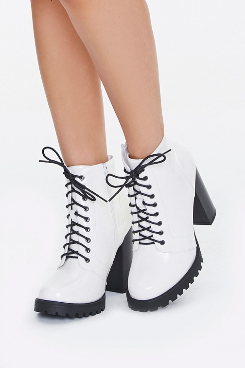 Forever21 Faux Patent Leather At Forever 21 , White Ankle Boot