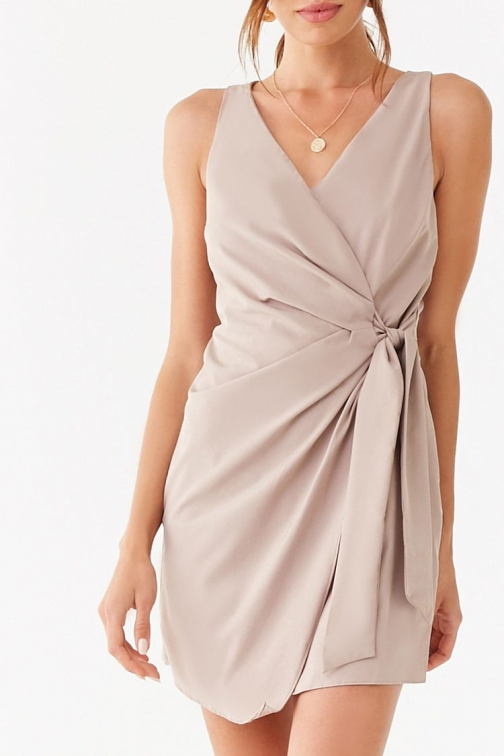 Forever21 Forever 21 Surplice Tie-Front , Taupe Mini Dress