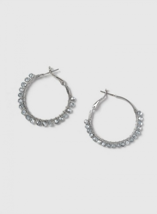 Dorothy Perkins Womens Silver Look Hoop With Crystals- Silver, Silver Earring
