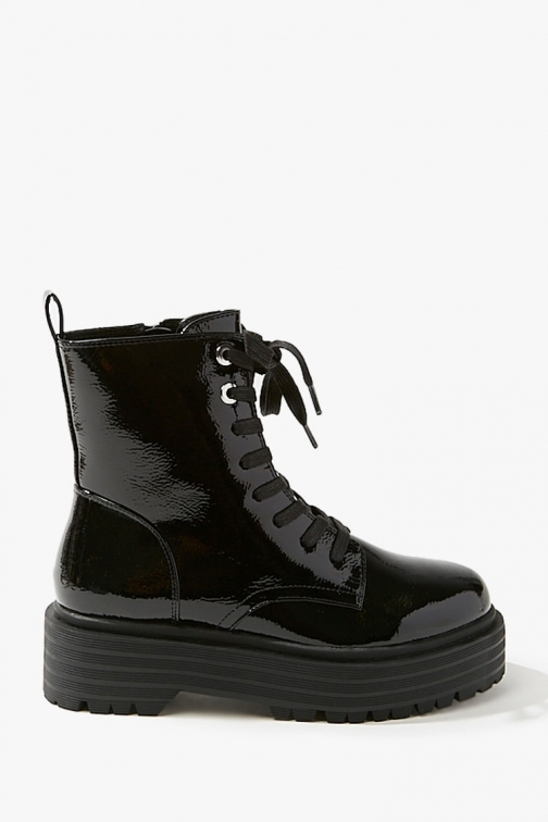 Forever21 Forever 21 Faux Patent Leather Combat , Black Boot