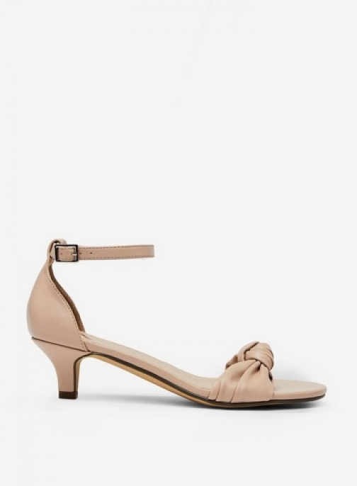 Dorothy Perkins Wide Fit Nude 'Sunshine' Kitten Heel Sandals