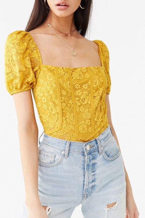 Forever21 Forever 21 Floral Lace Thong , Mustard Bodysuit
