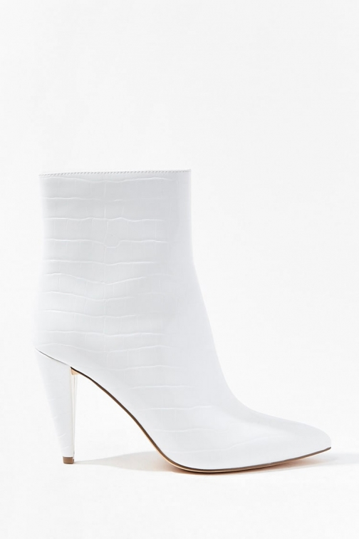 Forever21 Forever 21 Faux Croc Leather Booties , White Boot