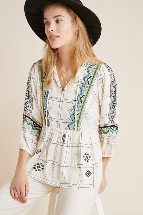 Vineet Bahl Brielle Embroidered Peasant Top