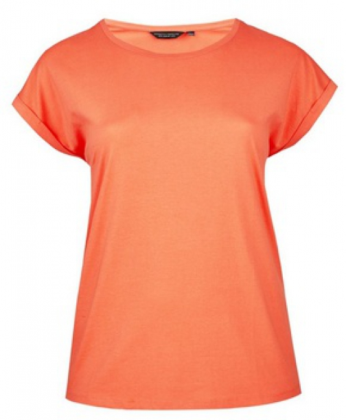 Dorothy Perkins Dp Curve Coral Roll Sleeve T-Shirt