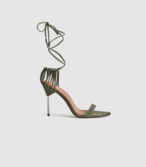 Reiss Zhane - Suede Strappy Wrap Pale Green, Womens, Size 8 Sandals