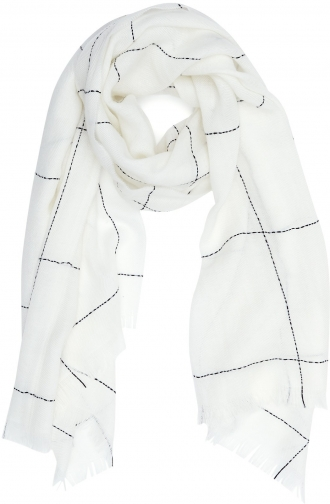 Reiss Kimmy - Wool Blend White/black, Womens Scarf