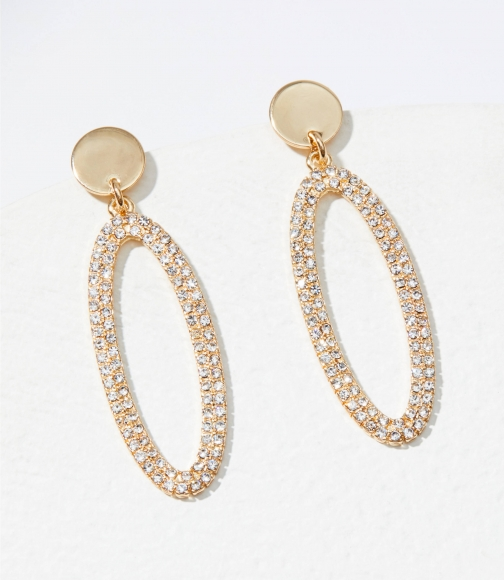 Loft Crystal Oval Drop Earring