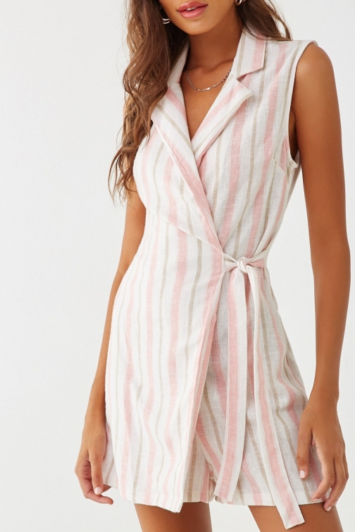 Forever21 Forever 21 Striped Wrap Romper , Cream/mauve Jumpsuit