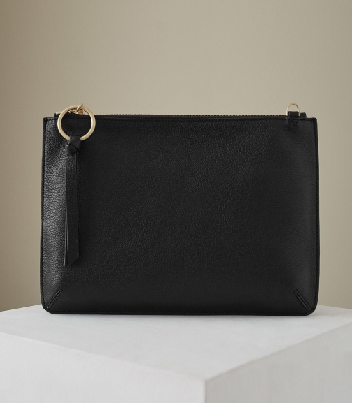 Reiss Paisley - Leather Zip Black, Womens Pouch