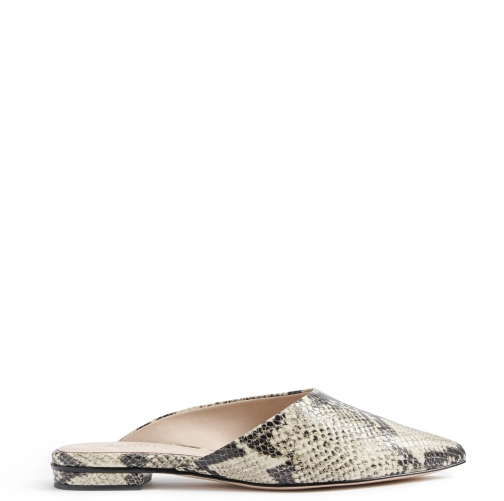 Schutz Shoes Raylene Flat Mule - 7.5 Natural Snake Snake Embossed Leather Shoes