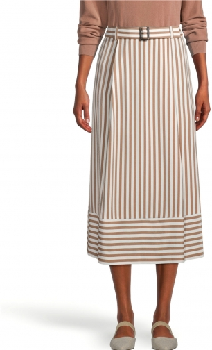 Ann Taylor Factory Petite Striped Belted Midi Skirt