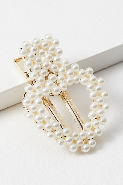 Anthropologie Faux Pearl-Embellished Hair Clip Headwear