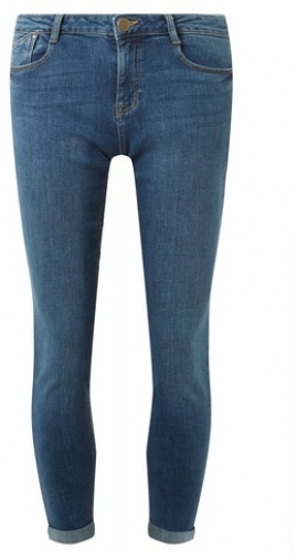 Dorothy Perkins Womens Midwash 'Harper' Low Rise Stretch - Blue, Blue Skinny Jeans