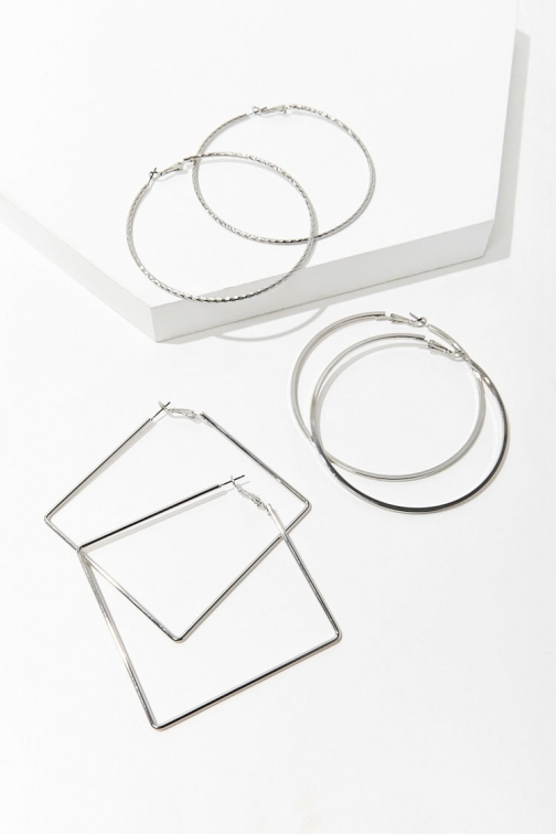 Forever21 Forever 21 Geo Hoop Earring Set , Grey Jewellery