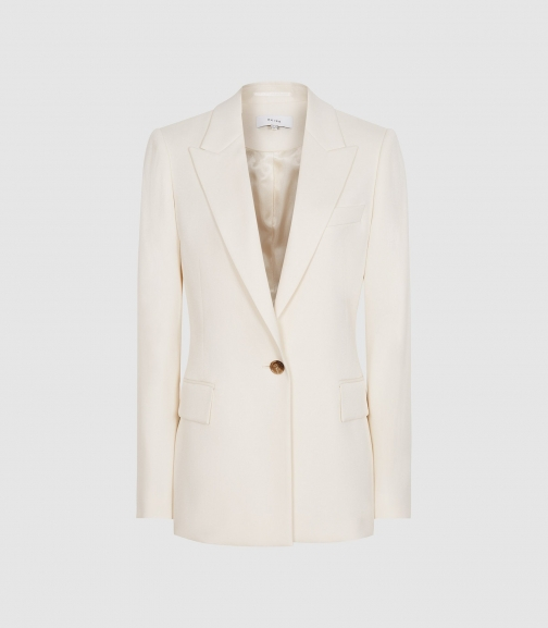 Reiss Edie - Single Breasted Ivory, Womens, Size 4 Blazer