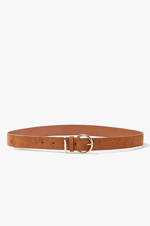 Forever21 Forever 21 Faux Suede Hip , Brown/gold Belt