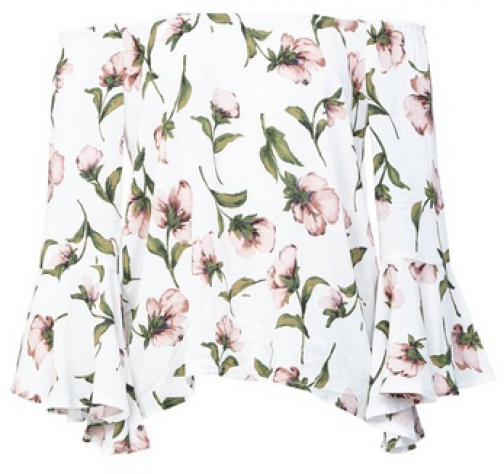 Izabel London White Floral Print Bardot Top