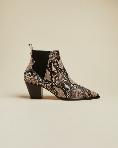 Ted Baker Embossed Snake Effect Western Leather Boot