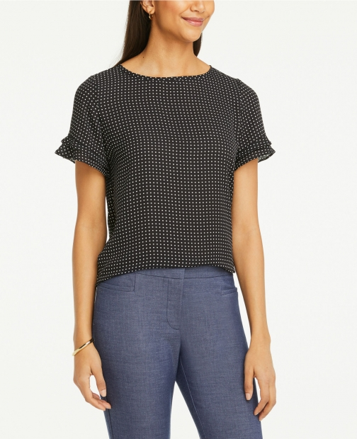 Ann Taylor Grid Mixed Media Tee T-Shirt