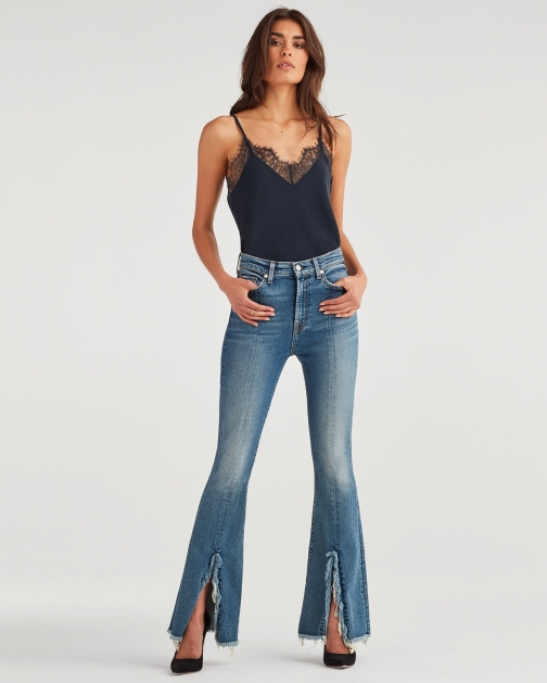 7 For All Mankind Women's Exaggerated Kick Flare With Fray And Slit Hem Luxe Vintage Muse Trouser