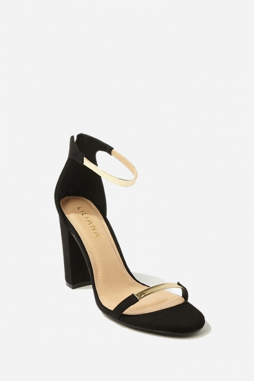 Forever21 Forever 21 Faux Suede Ankle-Strap Heels , Black/multi Shoes