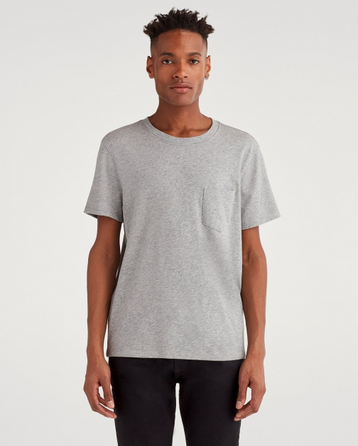 7 For All Mankind Men's Boxer Pocket Tee Heather Grey T-Shirt