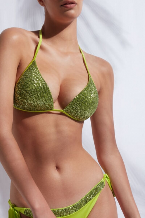 Calzedonia Graduated Triangle Top Cannes Woman Green Size 2 Swimsuit