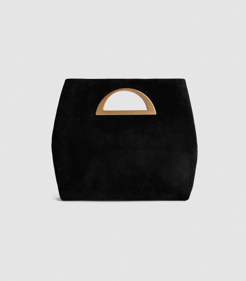Reiss Belgravia - Suede Fold Over Bag Black, Womens Clutch