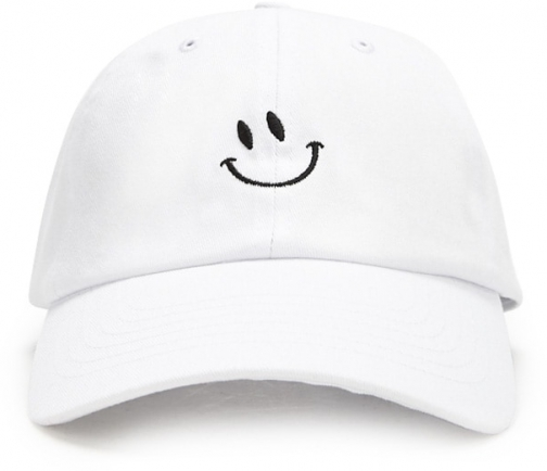 Forever21 Forever 21 Smiling Face Graphic Dad White/black Cap