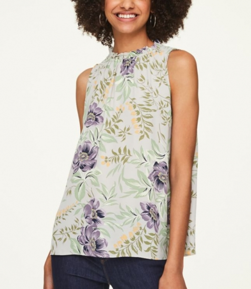 Loft Floral Gathered Shell Shirt