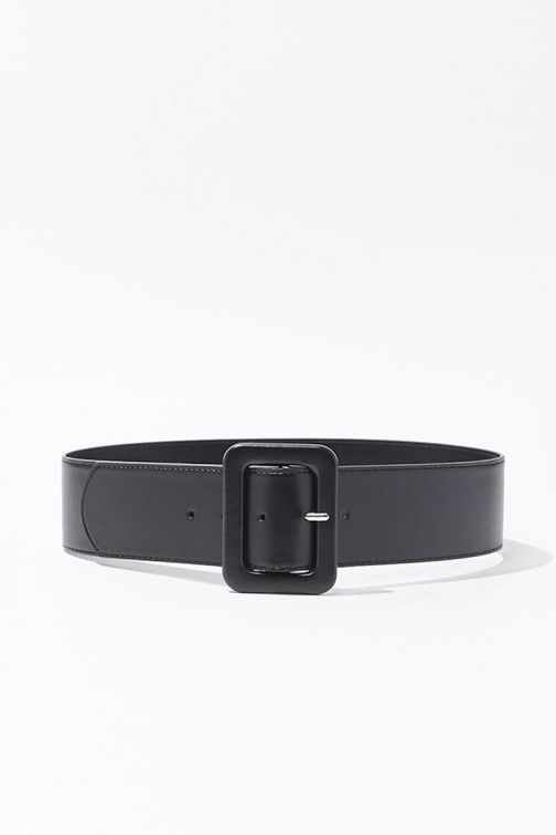 Forever21 Forever 21 Wide Faux Leather Waist , Black Belt