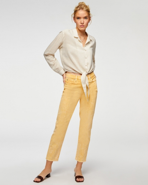 7 For All Mankind Womens High Waist Cropped Straight Mineral Marigold Size: 26 Trouser