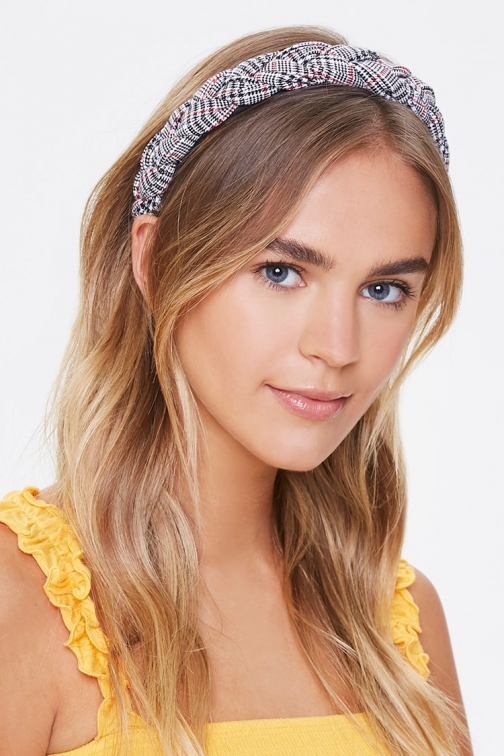 Forever21 Forever 21 Braided Plaid Headband , Black/white Headwear