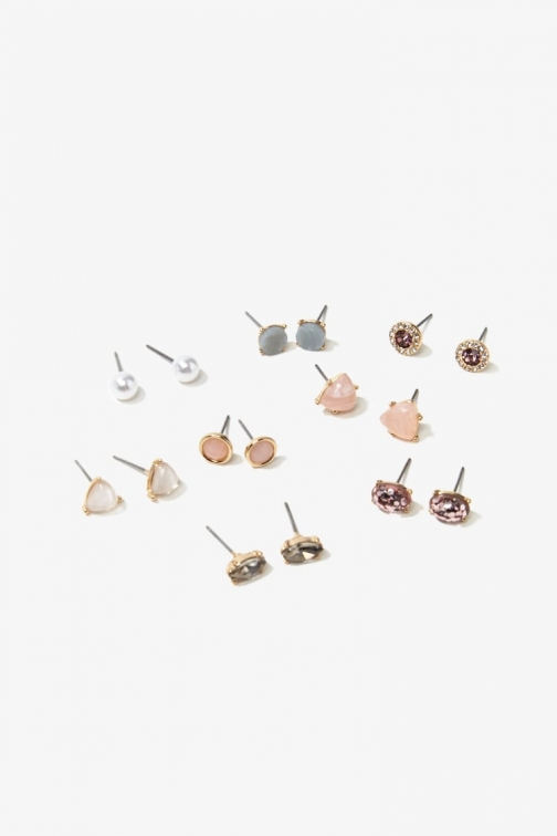Forever21 Forever 21 Assorted Stud Earring Set , Gold/purple Jewellery